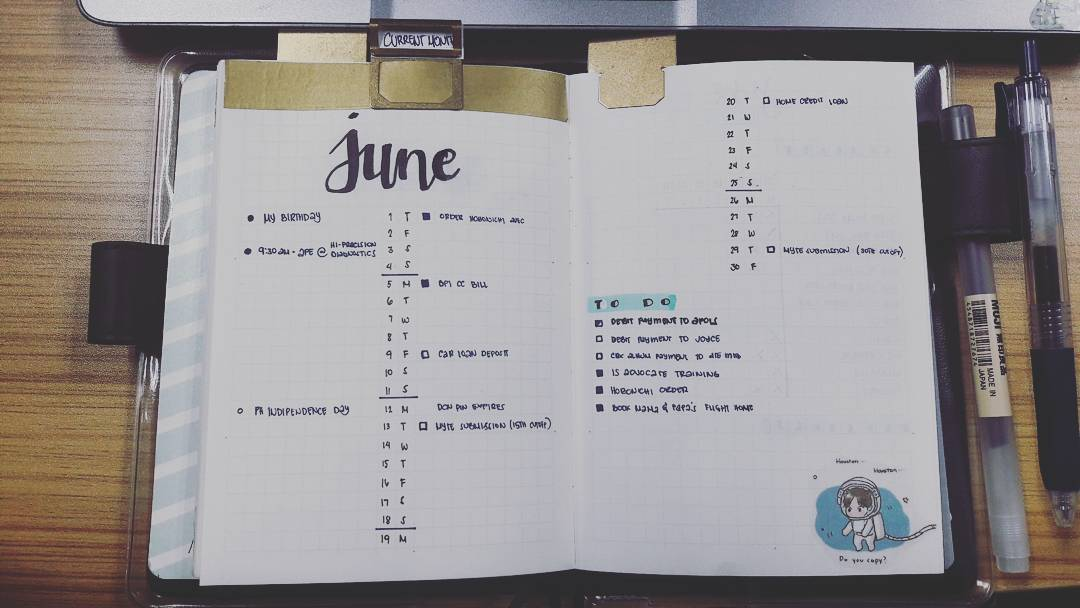 how to bullet journal - monthly log